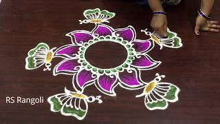 beautiful butterfly Sankranthi color rangoli designs || Pongal kolam designs