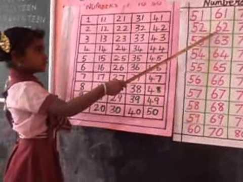 maths teaching by LKG kid in brammaas vidhyalaya