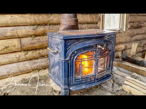 Installing a Wood Stove and Stone Floor | How to Build a Cheap Off Grid Log Cabin, Ep5