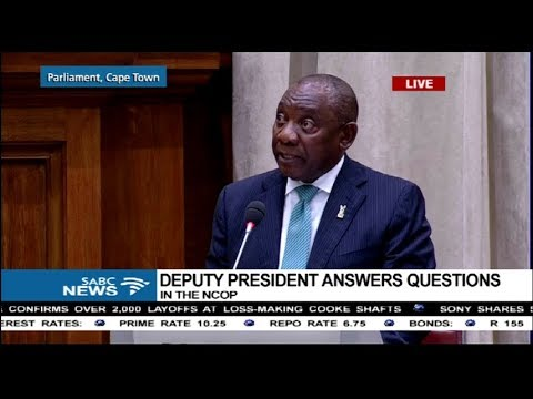 Deputy President Cyril Ramaphosa answers questions in the NCOP