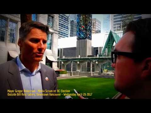 HiMY SYeD -- Mayor Gregor Robertson, Media Scrum re: BC Election, Vancouver, Wednesday April 26 2017