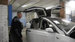 Ремонт электромобиля Tesla Model X. Разборка авто Тесла Модел Х на детали и запчасти.