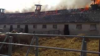 Kusowo, pożar stogów siana i obory - JRG 1 Bydgoszcz w akcji