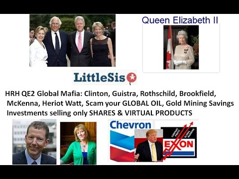 HRH QE2 Global Mafia Clinton, Guistra, Rothschild, Brookfield, McKenna Heriot Watt Scam your GLOBAL