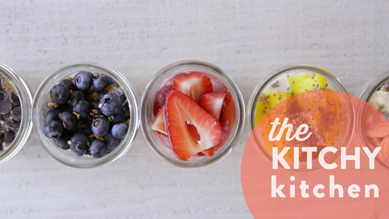 overnight oats 5 ways // the kitchy kitchen - youtube