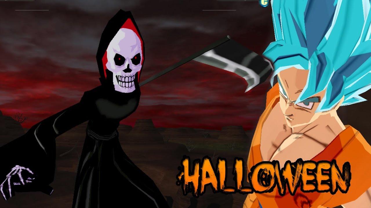 grim reaper death vs goku ssgss blue saiyan halloween special dbz tenkaichi 3 mod
