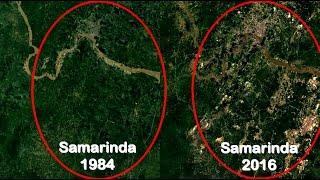 Samarinda Timelapse 33 tahun (33 foto udara) sebelum dan sesudah ada tambang