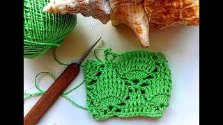 Узор листья. МК. Вязание крючком.