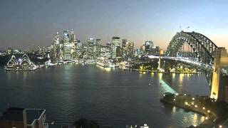 Softly fading light..Dusk..City lights coming on..Night..Ships departing   Sydney Harbour 8 May 2015
