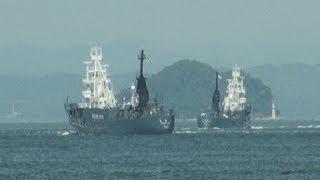 調査捕鯨船団が下関出港  北西太平洋で7月末まで