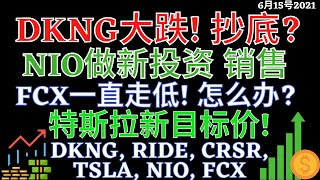 美股 DKNG大跌! 抄底? 特斯拉新目标价! NIO做新投资 销售 FCX一直走低! 怎么办? DKNG, RIDE, CRSR, TSLA, NIO, FCX