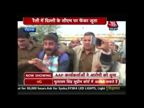 Shoe hurled at Delhi chief minister Arvind Kejriwal in Haryana