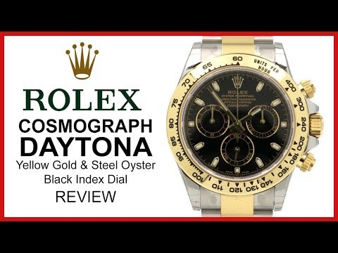 ▶ Rolex DAYTONA: Two-Tone Yellow Gold/Steel, black index Dial, Oyster - REVIEW 116503