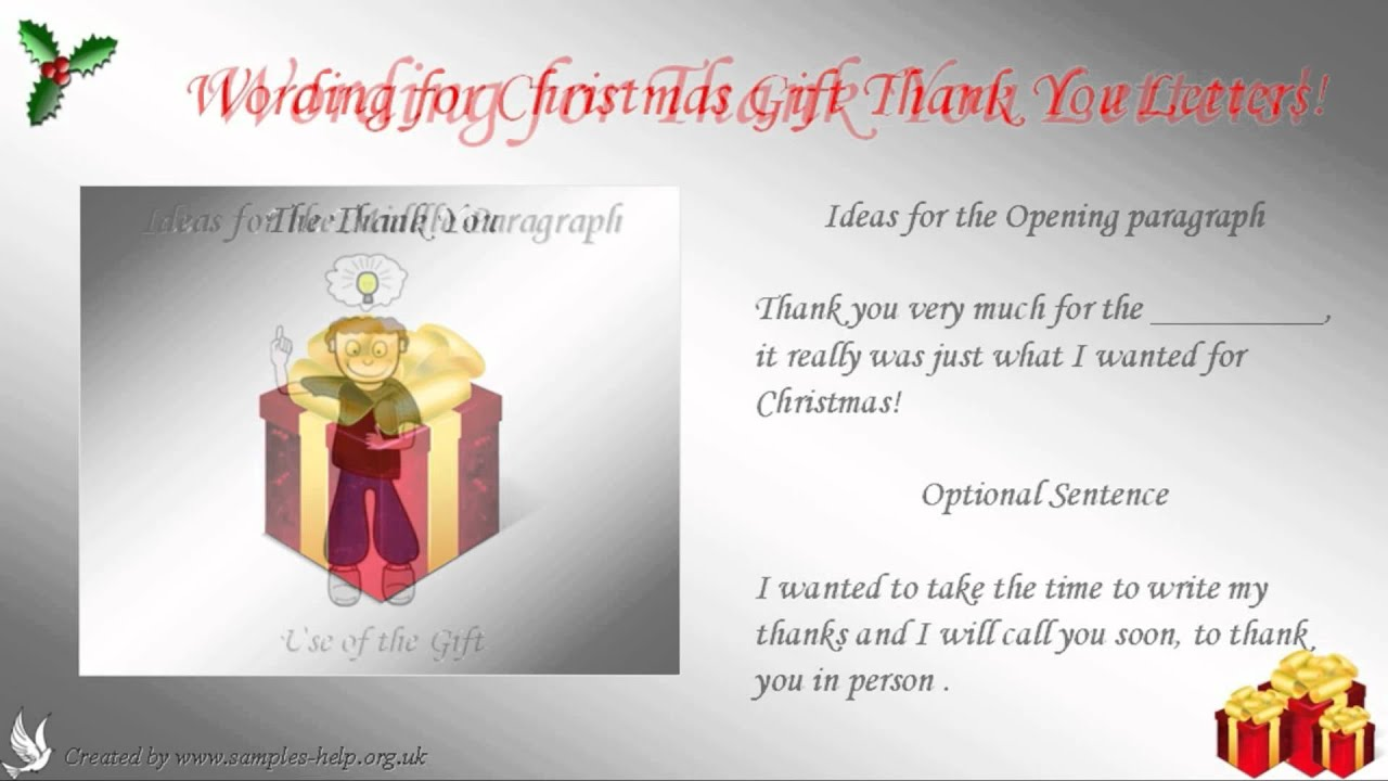 thank you letter christmas gift
