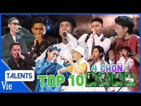 RAP VIỆT tổng hợp | Top 10 thí sinh giành được cả 4 chọn của Binz, Karik, Wowy, Suboi vòng chinh phụ