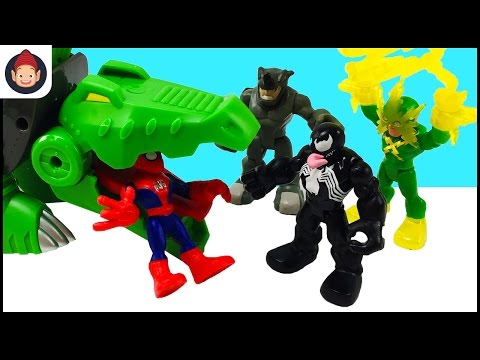 Marvel Super Hero Adventures Spider-Man Gator Bot Venom Scarlet Spider Hawkeye Iron Man Unboxing