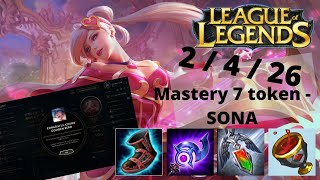 Sweetheart SONA / Mastery 7 token / League of Legends 2020 03 15