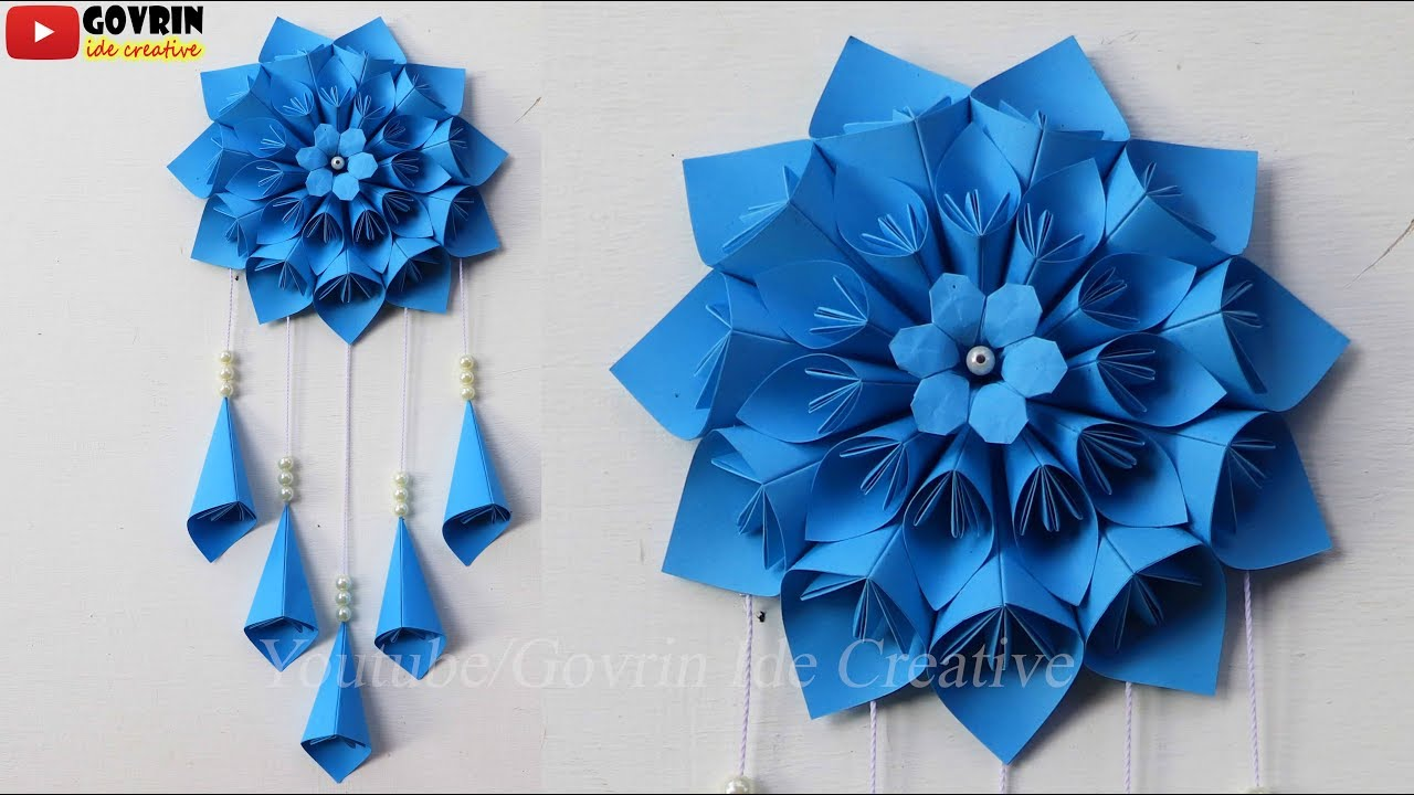 Wall Decor Ideas - Paper Flower Wall Hanging  wall decoration ideas at home