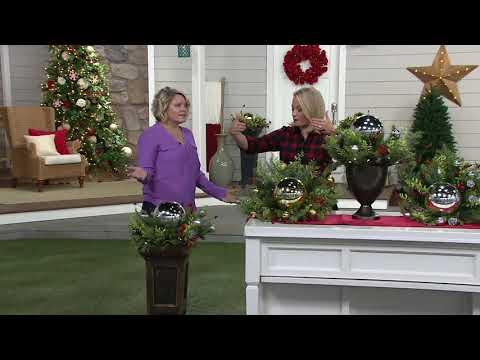 Bethlehem Lights Oversized Urn Filler w/Greens & Ornaments on QVC