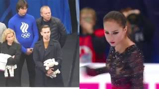 Eteri Tutberidze, Daniil Gleikhengauz, Sergei Dudakov watching Alina Zagitova at ROSTELECOM cup 2018