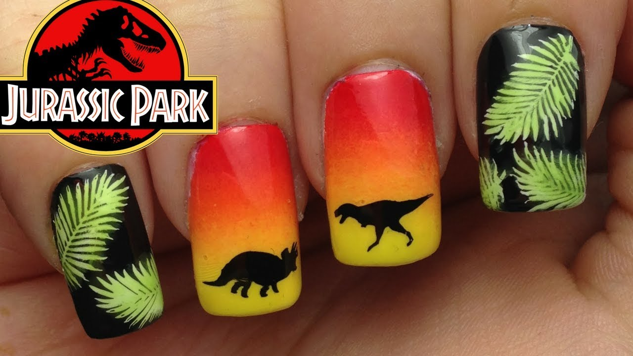 Jurassic Park Nails | Dinosaur Nails - YouTube