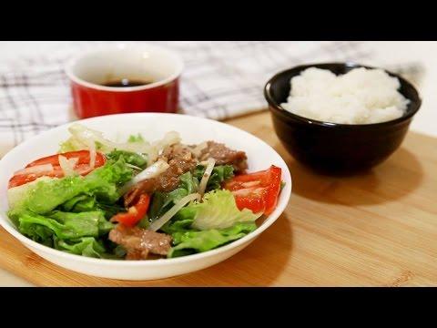 Cách làm salad trộn thịt bò - Nah