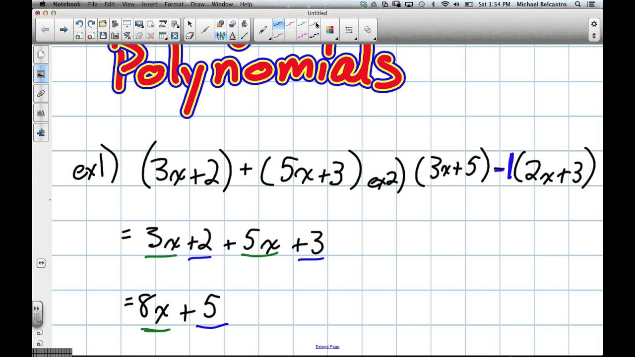 Adding And Subtracting Polynomials Grade 9 Academic Lesson 3 6 2 22 13