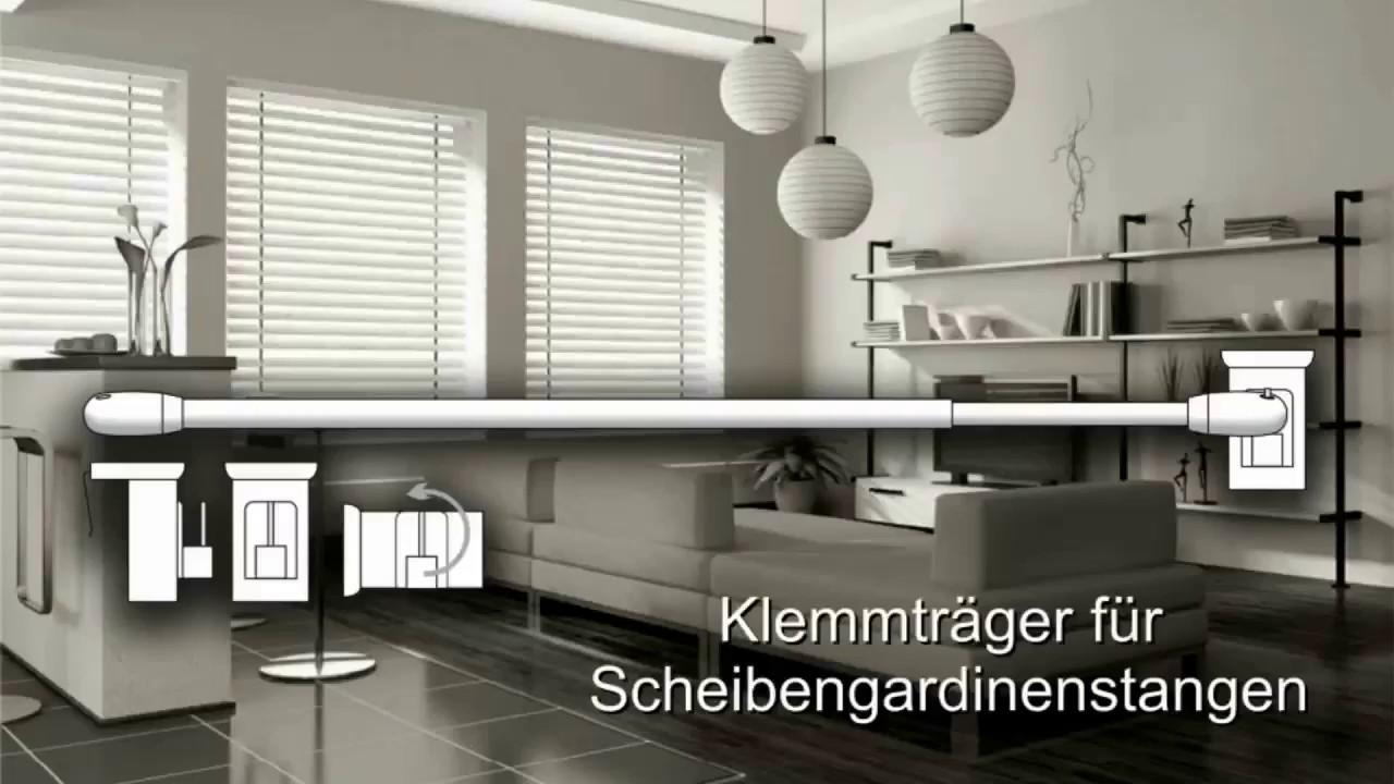 wohnmondo scheibengardinenstange ohne bohren youtube. Black Bedroom Furniture Sets. Home Design Ideas