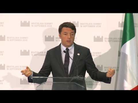 Renzi a Bratislava per Vertice informale UE, conferenza stampa