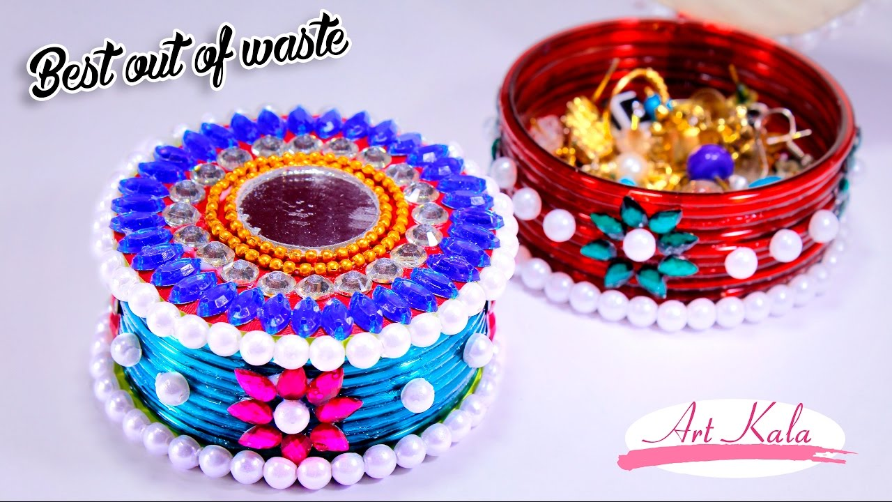 How to make storage boxes from old waste bangles best for Best out of waste for class 1