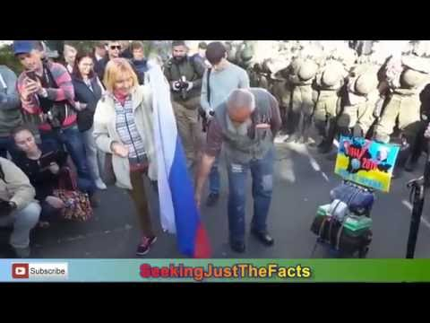 Russian Citizens Burning Flag of Russia