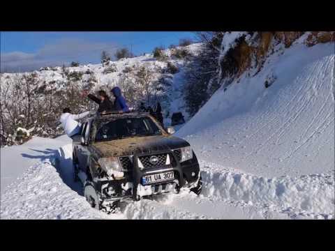 Extreme snow off Road Land Rover Defender 90 TDI and Mitsubishi L200 Triton Nissan Navara Kar küreme