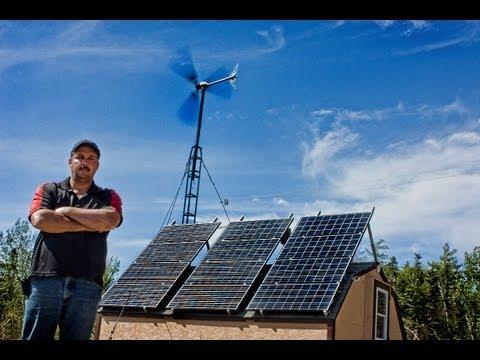 off grid home using solar panels  pictou island nova scotia owner ray docker