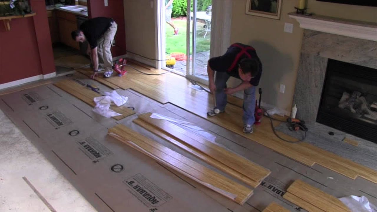 Nail down installation strand woven bamboo youtube for Installing bamboo flooring