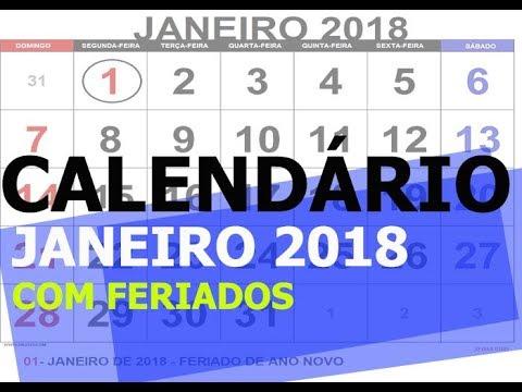 CALENDÁRIO JANEIRO 2018 COM FERIADOS PARA IMPRIMIR - YouTube