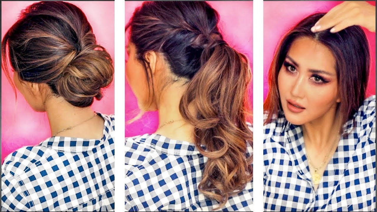 2-MIN EVERYDAY HAIRSTYLES FOR WORK Holiday UPDOS for Long ...