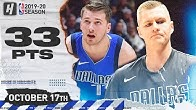 Luka Doncic & Kristaps Porzingis Combined Highlights vs Clippers 2019.10.17 - 33 Points, 26 Reb!