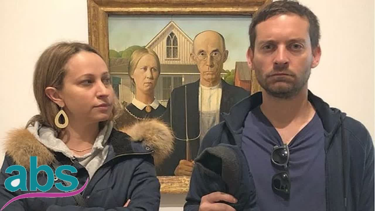 Tobey Maguire And Ex Wife Jennifer Meyer Parody American Gothic