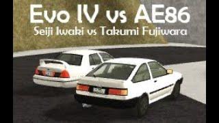 Evo IV vs Ae86 (Seiji Iwaki vs Takumi Fujiwara) | Roblox Initial D Remake #9