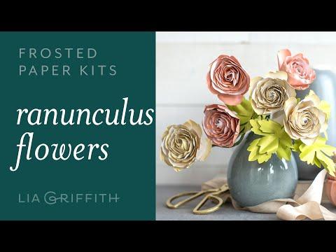 DIY Stunning Paper Ranunculus Flower: Easy to Use -  Frosted Paper Flower Kit (full tutorial)
