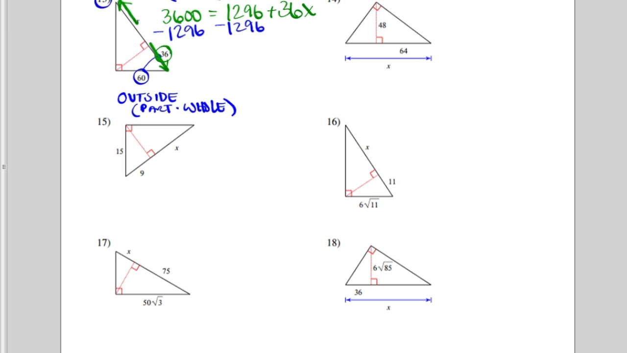 Similar Right Triangles Worksheet (More Difficult) - YouTube