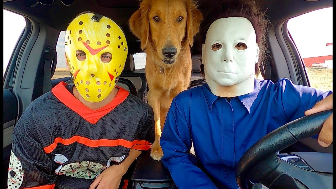 Jason Surprises Michael Myers & Puppy with Car Ride Chase!