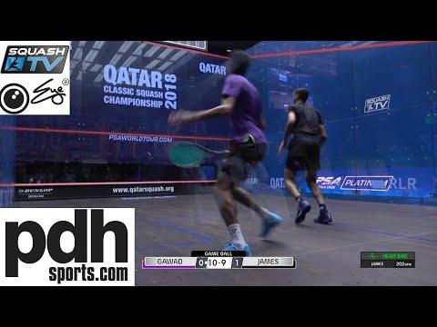 Declan James v Karim Abdel Gawad squash rally Qatar Classic 2018 with heart rate monitor