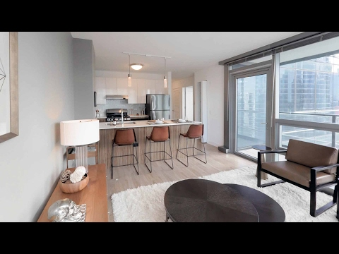 A 1-bedroom model with a balcony at the new Wolf Point West apartments