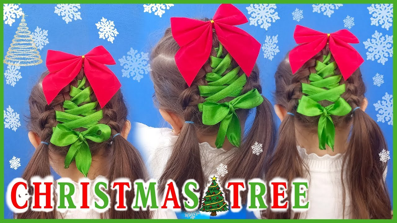 Hairstyle For Christmas - Christmas Tree /Christmas Hairstyle For Short Hair.Christmas Hair Tutorial