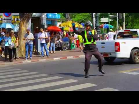 Funny police officer in Bangkok