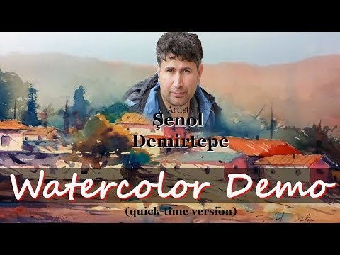 Watercolor Landscape Demonstration  Step By Step Artist Şenol DEMİRTEPE Watercolour painting Demo