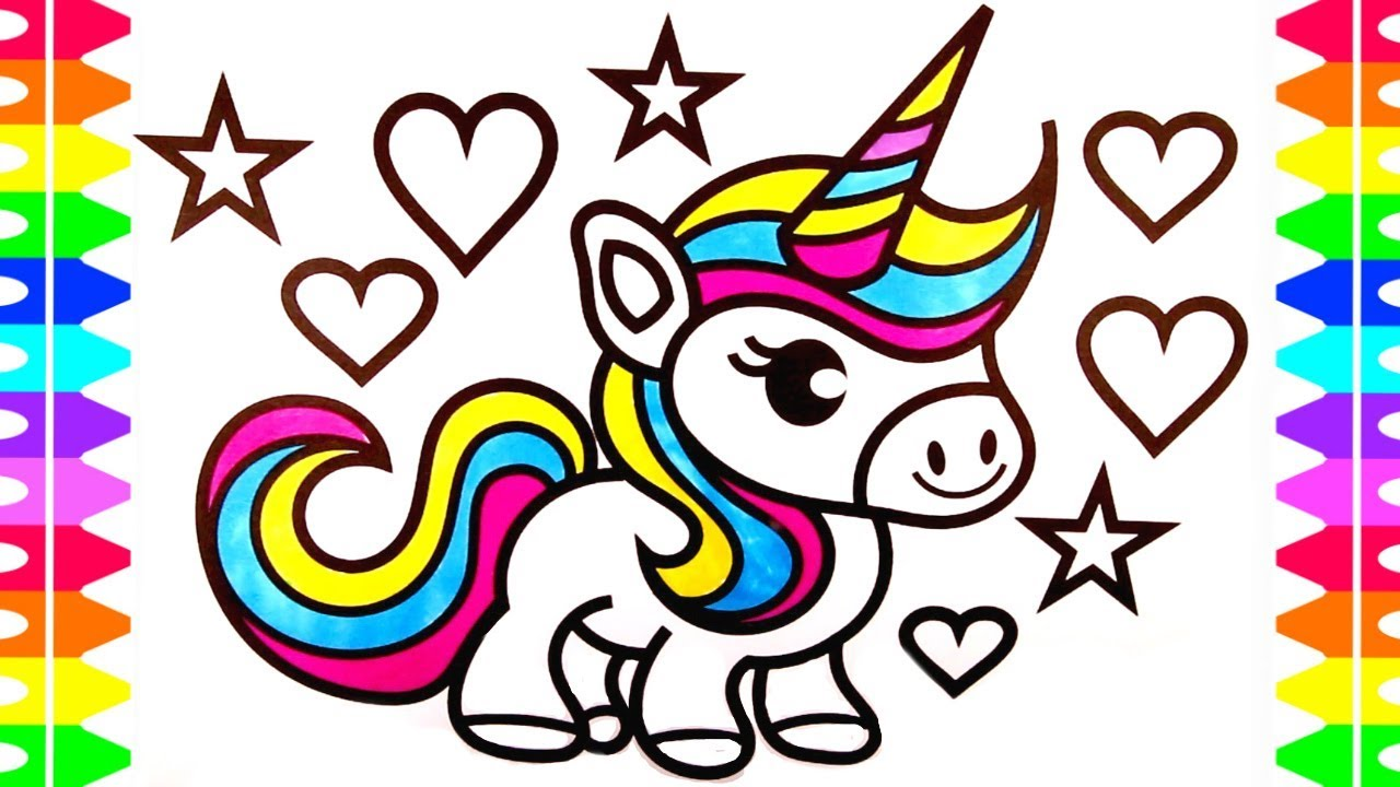 Cute Unicorn Coloring Page for Kids| Learn How to Draw a Baby ...
