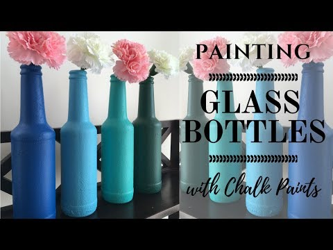 DIY: Bottle painting/ Upcycle Glass bottles with easy to make Chalk Paint!!!