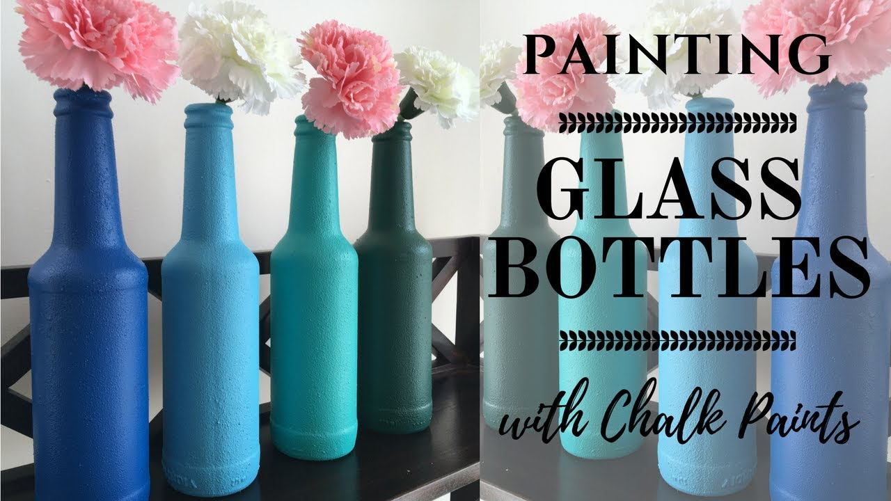 diy bottle painting upcycle glass bottles with easy to make chalk paint - How To Paint Glass Bottle